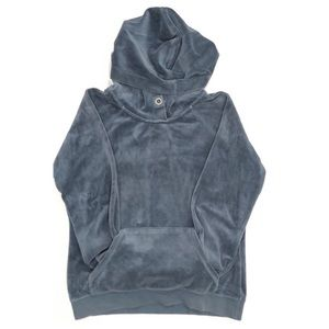 Club Monaco Blue Velvet Kangaroo Pocket Hoodie